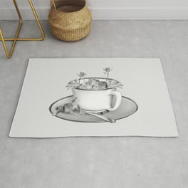 Coffee Cup Two Frogs Lotos Flower Rug