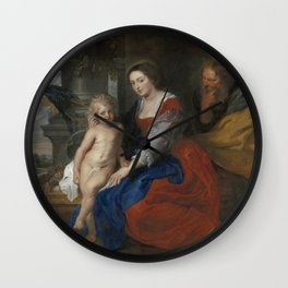 The Holy Family with the Parrot - Peter Paul Rubens Wall Clock
