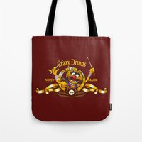 drums Tote Bags featuring Crazy Drums by ikado