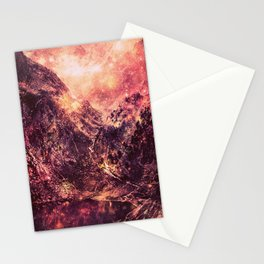 Galaxy Mountains : Mauve Burgundy Stationery Cards