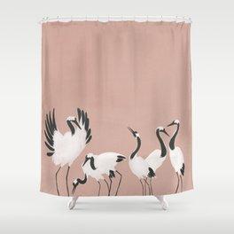 Crane Dance - Mauve Pink Shower Curtain