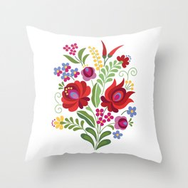Hungarian Folk Design Red Peppers Throw Pillow