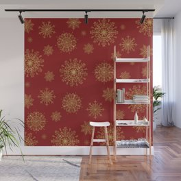 Assorted Golden Snowflakes Wall Mural