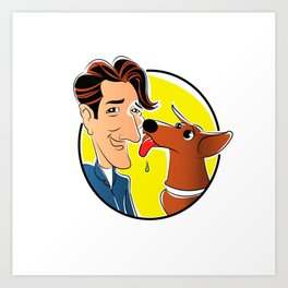 dog with owner cartoon Art Print