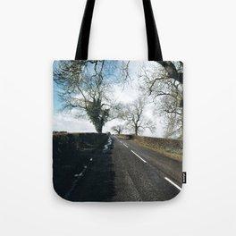 winter road in Derbyshire Tote Bag