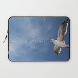 Seagull Freedom Flying Beach Seascape Ocean Decor Inspirational Quote Wall Art Lustre Framed Print  Laptop Sleeve