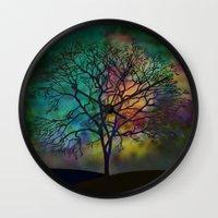 celestial Wall Clocks featuring Celestial Phenomenon by Klara Acel