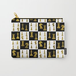Chessboard and Gold Chess Pieces pattern Carry-All Pouch