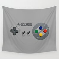 nintendo Wall Tapestries featuring Classic Nintendo Controller by aleha