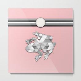 Frog Pink Argyle Stripes Pattern Animal Design Metal Print