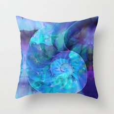 Blue Nautilus Shell  - Seashell Art By Sharon Cummings Throw Pillow