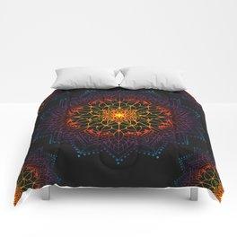 'Glowing Shamballa' Bohemian Mandala Black Blue Purple Orange Yellow Comforters