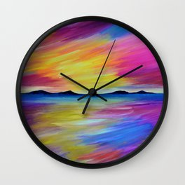 PURPLE SEASCAPE - Abstract Sky Seascape Oil Painting Wall Clock