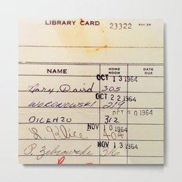 Library Card 23322 Metal Print