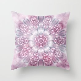 Dreams Mandala in Pink, Grey, Purple and White Throw Pillow