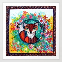 tatoo Art Prints featuring tatoo fox by oxana zaika