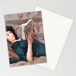 Isaac Lazarus Israels - Reading Woman On A Couch - Digital Remastered Edition Stationery Cards