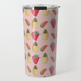 watermelon, pineapple, and Strawberry  Travel Mug