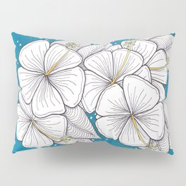 Zentangle Blue and Gold Hibiscus Blossoms for Flower Lovers Pillow Sham