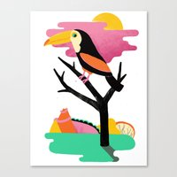 toucan Canvas Prints featuring Toucan by Vasilisa Wise