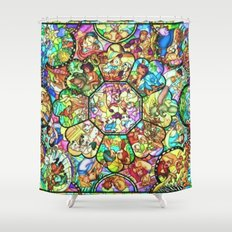 Mickey Mouse and Friends - Stained Glass Window Collage Shower Curtain