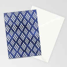 Tribal White Rectangle Pattern on Navy Ink Stationery Cards