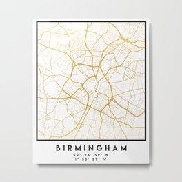 BIRMINGHAM ENGLAND CITY STREET MAP ART Metal Print