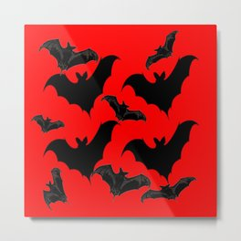 HALLOWEEN BATS ON BLOOD RED DESIGN Metal Print