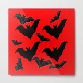 HALLOWEEN BATS ON BLOOD RED DESIGN Metal Print