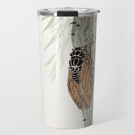 Cicada on a weeping willow tree - Japanese vintage woodblock print Travel Mug