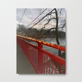 Red Winter Bridge Metal Print