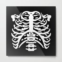 Human Rib Cage Pattern Black and White 2 Metal Print