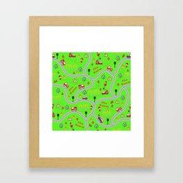 Fireman cute seamless kids pattern bright green Framed Art Print
