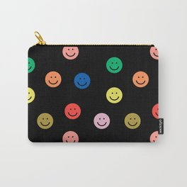Smiley faces black happy simple rainbow colors pattern smile face kids nursery boys girls decor Carry-All Pouch