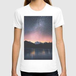 Milky Way Stars Mountain Landscape T-shirt
