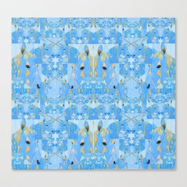 Light Blue and Gold Abstract Unicorn Quilt Print Canvas Print