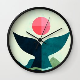 mid century whale sun sea Wall Clock