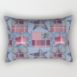 Blue denim plaid patchwork . Rectangular Pillow