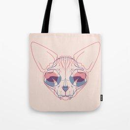 Sphynx Cat Skull Double Exposure - Overlay Hairless Kitty Illustration Tote Bag