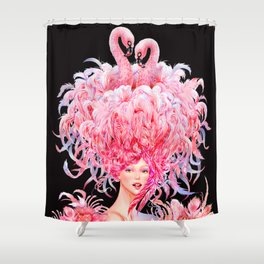 Flamingo Love_Pink Shower Curtain