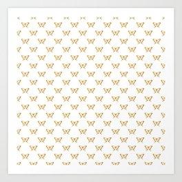 Metallic Gold Foil Butterflies on White Art Print