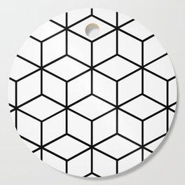Black and White - Geometric Cube Design I Cutting Board