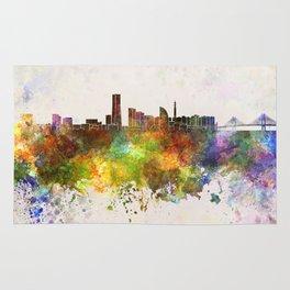 Yokohama skyline in watercolor background Rug