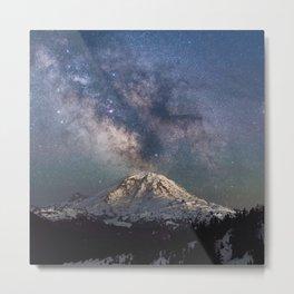 Milky Way Above Snowy Mountain Metal Print