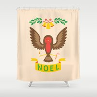 robin hood Shower Curtains featuring Robin by Wharton