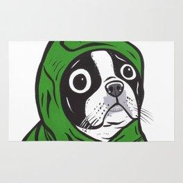 Boston Terrier Green Hoodie Rug