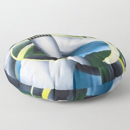 Variation on a Lighthouse landscape painting by Ida O'Keeffe Floor Pillow