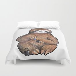 sloth painting nails Duvet Cover
