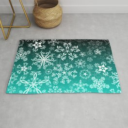 Symbols in Snowflakes on Winter Green Rug