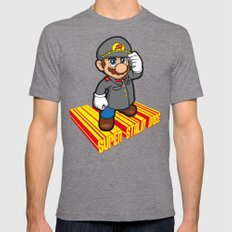 SUPER STALIN BROS. LARGE Tri-Grey Mens Fitted Tee